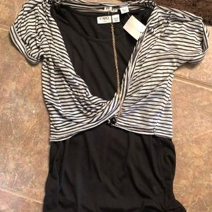 Grey and Black Striped Blouse
